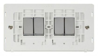 Scolmore Click Definity SIN414PWCH INGOT 10AX 4 Gang 2 Way Switch Insert White/Chrome