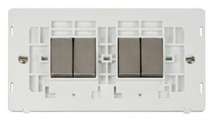 Scolmore Click Definity SIN414PWSS INGOT 10AX 4 Gang 2 Way Switch Insert White/Stainless Steel
