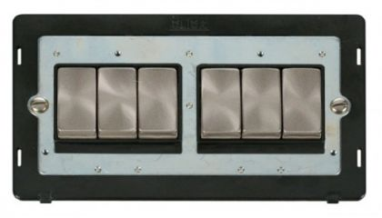 Scolmore Click Definity SIN416BKBS INGOT 10AX 6 Gang 2 Way Switch Insert Black/Brushed Stainless