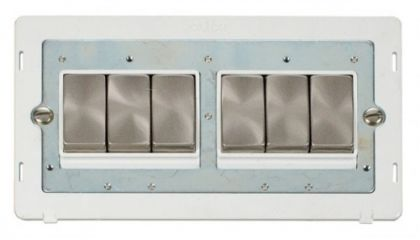 Scolmore Click Definity SIN416PWBS INGOT 10AX 6 Gang 2 Way Switch Insert White/Brushed Stainless