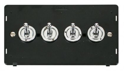 Scolmore Click Definity SIN424CH 10AX 4 Gang 2 Way Toggle Switch Insert Chrome