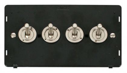 Scolmore Click Definity SIN424PN 10AX 4 Gang 2 Way Toggle Switch Insert Pearl Nickel