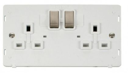 Scolmore Click Definity SIN536PWBS INGOT 2 Gang 13A DP Switched Socket Insert White/Brushed Stainless