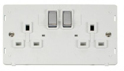 Scolmore Click Definity SIN536PWCH INGOT 2 Gang 13A DP Switched Socket Insert White/Chrome