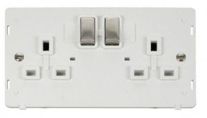 Scolmore Click Definity SIN536PWSS INGOT 2 Gang 13A DP Switched Socket Insert White/Stainless Steel