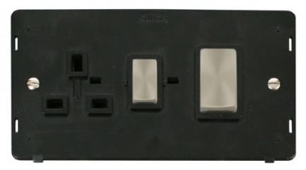 Scolmore Click Definity SIN504BKBS INGOT 45A DP Switch + 13A DP Switched Socket Insert Black