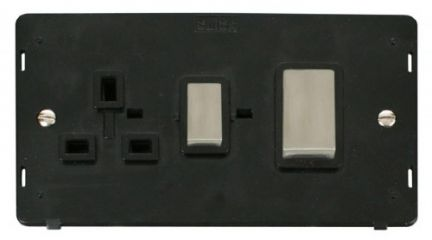 Scolmore Click Definity SIN504BKSS INGOT 45A DP Switch + 13A DP Switched Socket Insert Black