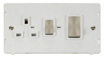 Scolmore Click Definity SIN504PWBS INGOT 45A DP Switch + 13A DP Switched Socket Insert White