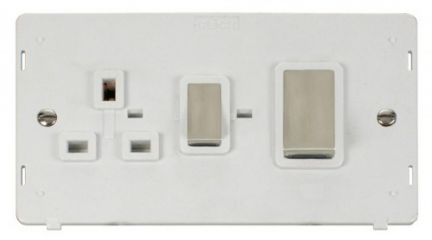 Scolmore Click Definity SIN504PWSS INGOT 45A DP Switch + 13A DP Switched Socket Insert White
