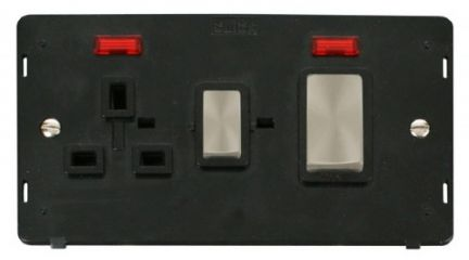 Scolmore Click Definity SIN505BKBS INGOT 45A DP Switch + 13A DP Sw. Socket With Neons Insert Black