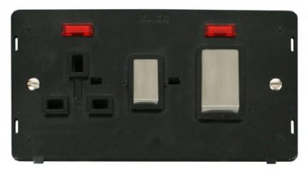 Scolmore Click Definity SIN505BKSS INGOT 45A DP Switch + 13A DP Sw. Socket With Neons Insert Black