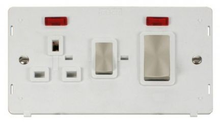 Scolmore Click Definity SIN505PWBS INGOT 45A DP Switch + 13A DP Sw. Socket With Neons Insert White