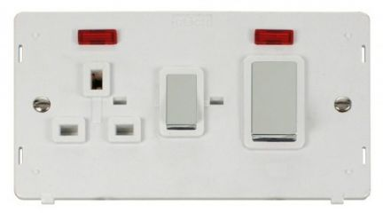Scolmore Click Definity SIN505PWCH INGOT 45A DP Switch + 13A DP Sw. Socket With Neons Insert White