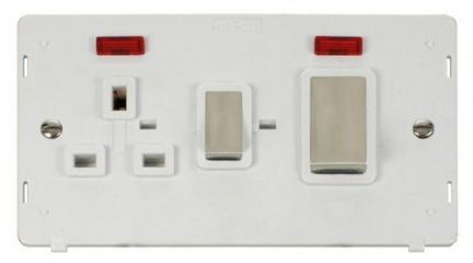 Scolmore Click Definity SIN505PWSS INGOT 45A DP Switch + 13A DP Sw. Socket With Neons Insert White
