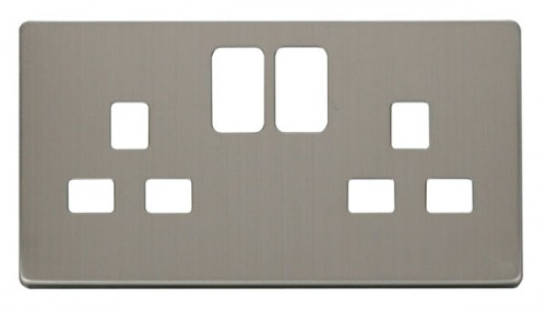 Scolmore Click Definity Stainless Steel Socket Outlet Cover Plates