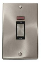 Scolmore Click Deco VPSC503BK 2 Gang 45A Ingot DP Switch With Neon - Black