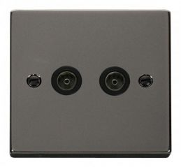 Scolmore Click Deco VPBN066BK Twin Coaxial Socket Outlet