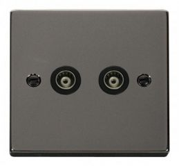 Scolmore Click Deco VPBN159BK Twin Isolated Coaxial Socket Outlet