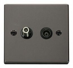 Scolmore Click Deco VPBN170BK 1 Gang Satellite & Coaxial Socket Outlet