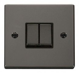 Scolmore Click Deco VPBN412BK 2 Gang 2 Way Ingot 10AX Switch