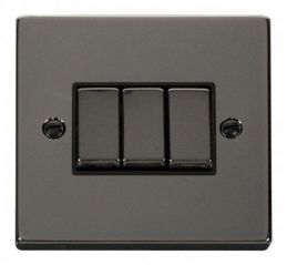 Scolmore Click Deco VPBN413BK 3 Gang 2 Way Ingot 10AX Switch
