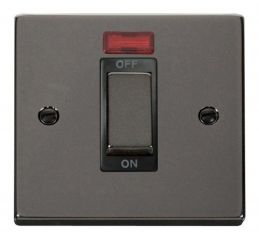 Scolmore Click Deco VPBN501BK 1 Gang 45A Ingot DP Switch With Neon