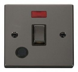 Scolmore Click Deco VPBN523BK 20A 1 Gang DP Ingot Switch With Flex Outlet And Neon