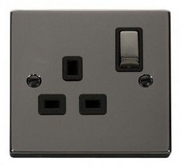 Scolmore Click Deco VPBN535BK 1 Gang 13A DP Ingot Switched Socket Outlet