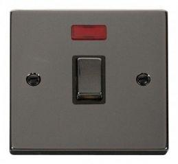 Scolmore Click Deco VPBN723BK 20A 1 Gang DP Ingot Switch + Neon