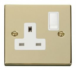 Scolmore Click Deco VPBR035WH 1 Gang 13A DP Switched Socket Outlet - White