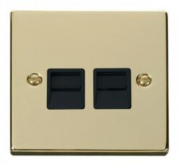 Scolmore Click Deco VPBR121BK Twin Telephone Socket Outlet Master - Black
