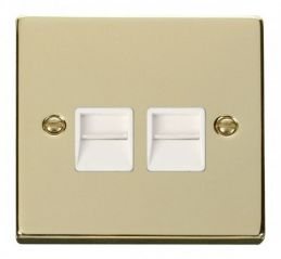 Scolmore Click Deco VPBR121WH Twin Telephone Socket Outlet Master - White