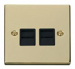 Scolmore Click Deco VPBR126BK Twin Telephone Socket Outlet Secondary - Black