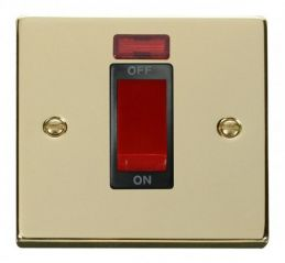 Scolmore Click Deco VPBR201BK 1 Gang 45A DP Switch With Neon - Black