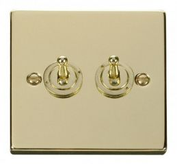 Scolmore Click Deco VPBR422 2 Gang 2 Way 10AX Toggle Switch
