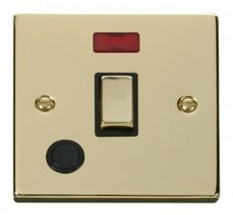 Scolmore Click Deco VPBR523BK 20A 1 Gang DP Ingot Switch With Flex Outlet And Neon - Black