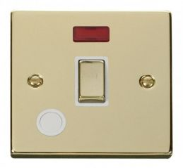 Scolmore Click Deco VPBR523WH 20A 1 Gang DP Ingot Switch With Flex Outlet And Neon - White
