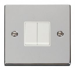 Scolmore Click Deco VPCH012WH 2 Gang 2 Way 10AX Switch - White