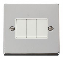 Scolmore Click Deco VPCH013WH 3 Gang 2 Way 10AX Switch - White