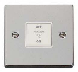 Scolmore Click Deco VPCH020WH 10A 1 Gang 3 Pole Fan Isolation Switch - White