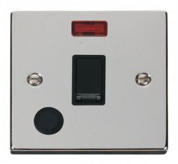 Scolmore Click Deco VPCH023BK 20A 1 Gang DP Switch With Flex Outlet And Neon - Black