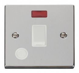 Scolmore Click Deco VPCH023WH 20A 1 Gang DP Switch With Flex Outlet And Neon - White