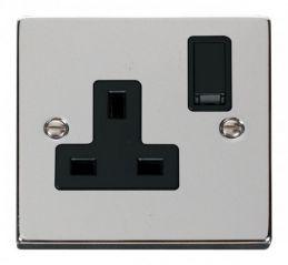 Scolmore Click Deco VPCH035BK 1 Gang 13A DP Switched Socket Outlet - Black