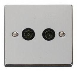 Scolmore Click Deco VPCH066BK Twin Coaxial Socket Outlet - Black