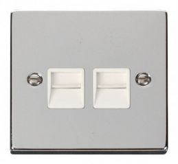 Scolmore Click Deco VPCH121WH Twin Telephone Socket Outlet Master - White