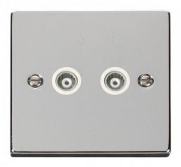Scolmore Click Deco VPCH159WH Twin Isolated Coaxial Socket Outlet - White