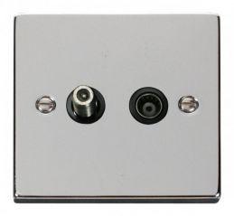 Scolmore Click Deco VPCH170BK 1 Gang Satellite & Coaxial Socket Outlet - Black