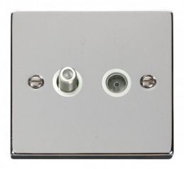 Scolmore Click Deco VPCH170WH 1 Gang Satellite & Coaxial Socket Outlet - White