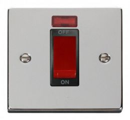 Scolmore Click Deco VPCH201BK 1 Gang 45A DP Switch With Neon - Black