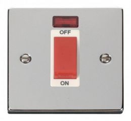 Scolmore Click Deco VPCH201WH 1 Gang 45A DP Switch With Neon - White